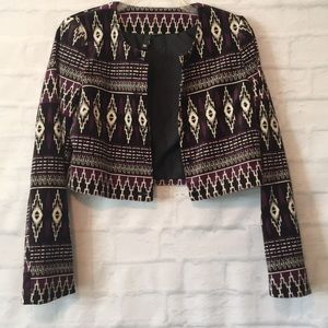 Divided by H&M velvet Aztec print crop jacket